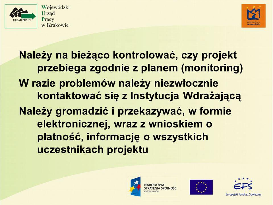 Należy na bieżąco kontrolować, czy projekt przebiega zgodnie z planem (monitoring) W razie problemów należy niezwłocznie kontaktować się z Instytucja