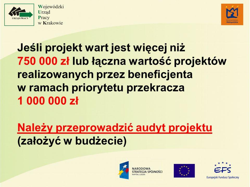 Jeśli projekt wart jest więcej niż 750 000 zł lub łączna wartość projektów realizowanych przez beneficjenta w ramach priorytetu przekracza 1 000 000 z