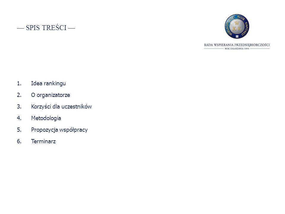 SPIS TREŚCI 1.Idea rankingu 2.O organizatorze 3.Korzyści dla uczestników 4.Metodologia 5.Propozycja współpracy 6.Terminarz