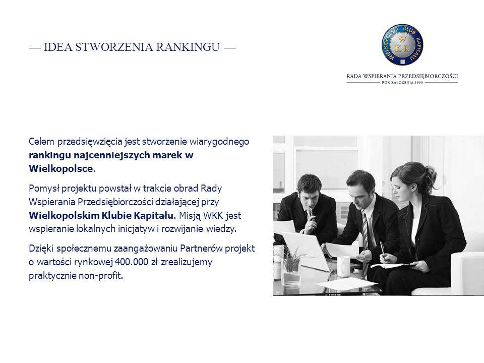 IDEA STWORZENIA RANKINGU Celem przedsięwzięcia jest stworzenie wiarygodnego rankingu najcenniejszych marek w Wielkopolsce.