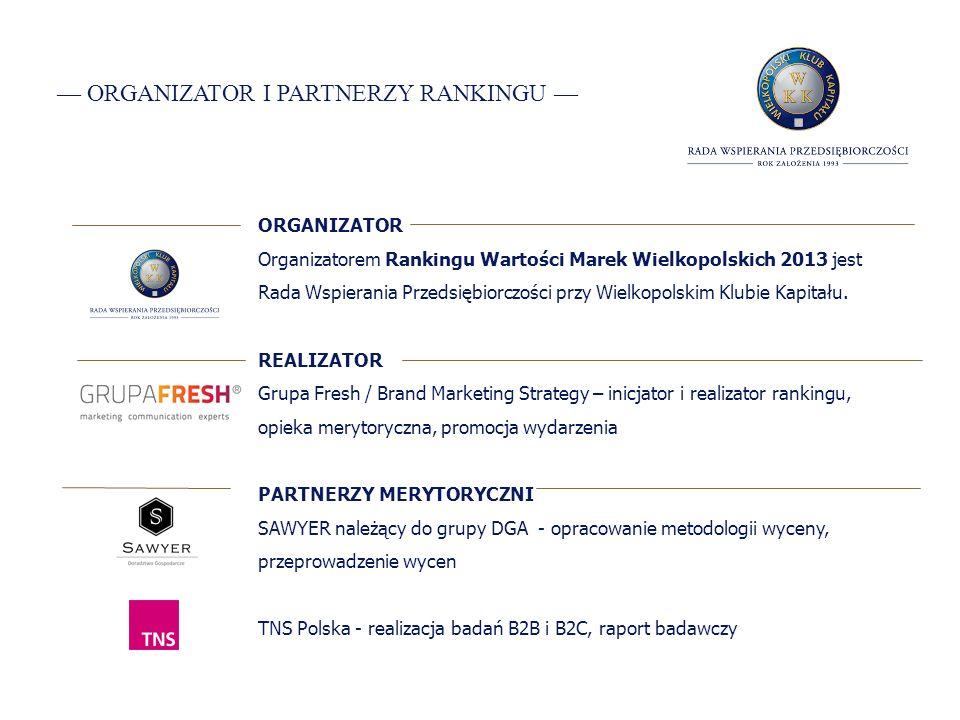 ORGANIZATOR I PARTNERZY RANKINGU ORGANIZATOR Organizatorem Rankingu Wartości Marek Wielkopolskich 2013 jest Rada Wspierania Przedsiębiorczości przy Wielkopolskim Klubie Kapitału.