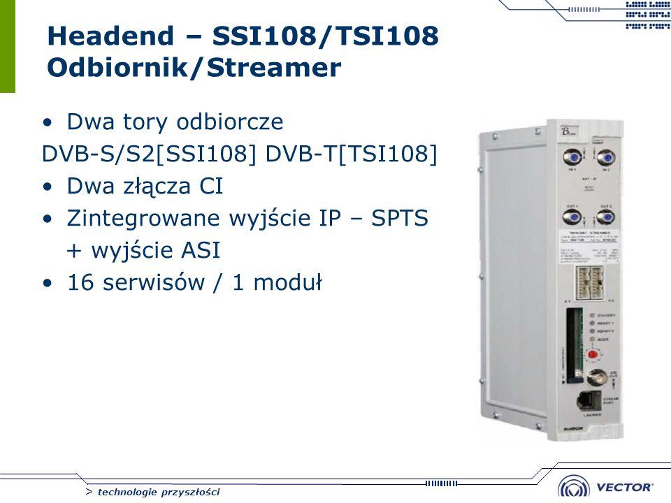 > technologie przyszłości Headend – SSI108/TSI108 Odbiornik/Streamer Dwa tory odbiorcze DVB-S/S2[SSI108] DVB-T[TSI108] Dwa złącza CI Zintegrowane wyjś