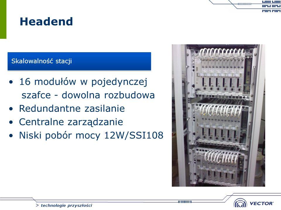 > technologie przyszłości Headend 16 modułów w pojedynczej szafce - dowolna rozbudowa Redundantne zasilanie Centralne zarządzanie Niski pobór mocy 12W