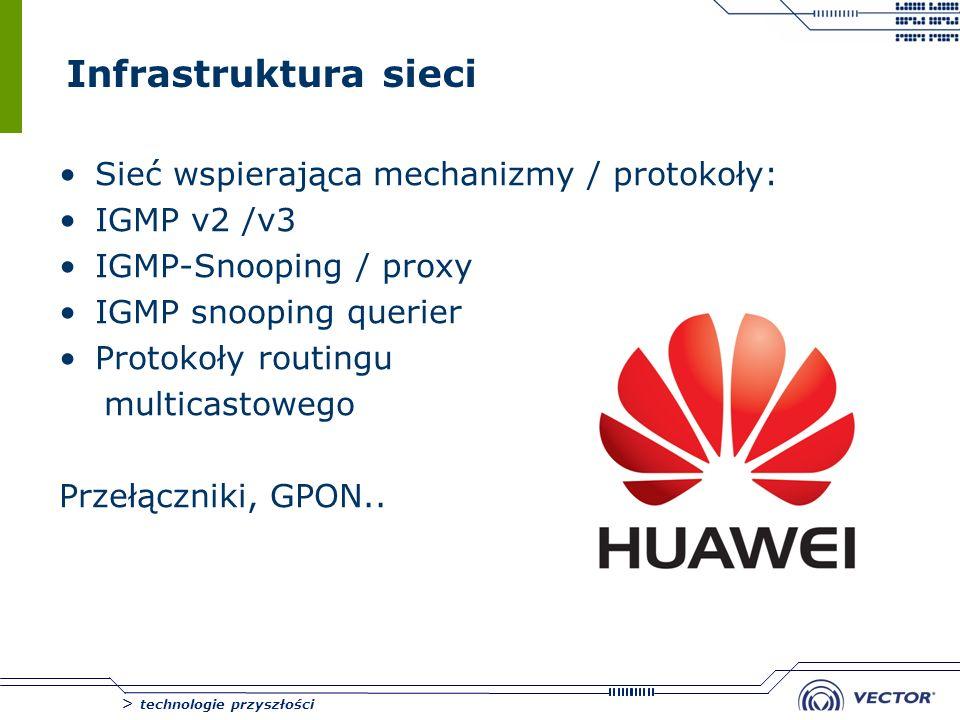 > technologie przyszłości Infrastruktura sieci Sieć wspierająca mechanizmy / protokoły: IGMP v2 /v3 IGMP-Snooping / proxy IGMP snooping querier Protok