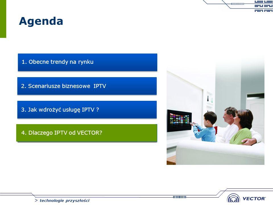 > technologie przyszłości Agenda 1. Obecne trendy na rynku 2. Scenariusze biznesowe IPTV 3. Jak wdrożyć usługę IPTV ? 4. 4. Dlaczego I PTV od VECTOR?