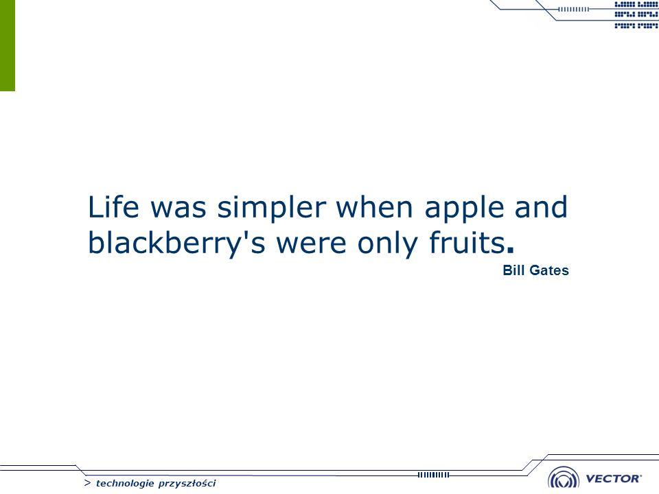 > technologie przyszłości Life was simpler when apple and blackberry's were only fruits. Bill Gates