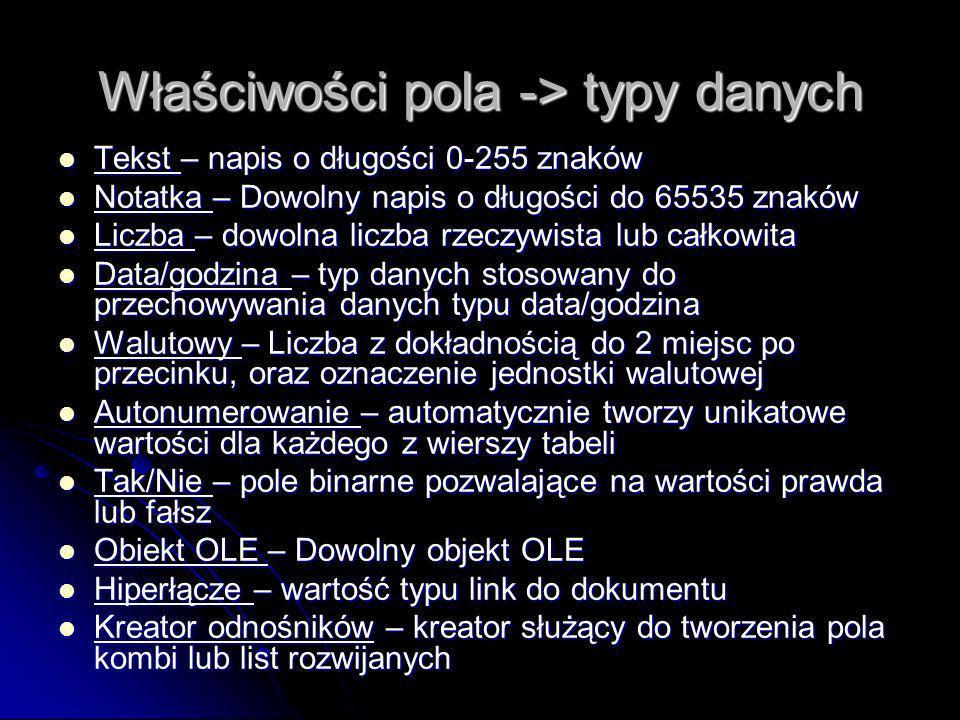 Właściwości pola -> typy danych Tekst – napis o długości 0-255 znaków Tekst – napis o długości 0-255 znaków Notatka – Dowolny napis o długości do 6553