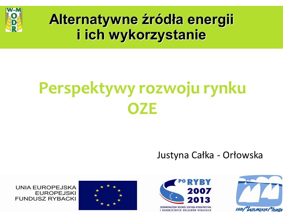 Perspektywy rozwoju rynku OZE Justyna Całka - Orłowska Alternatywne źródła energii i ich wykorzystanie