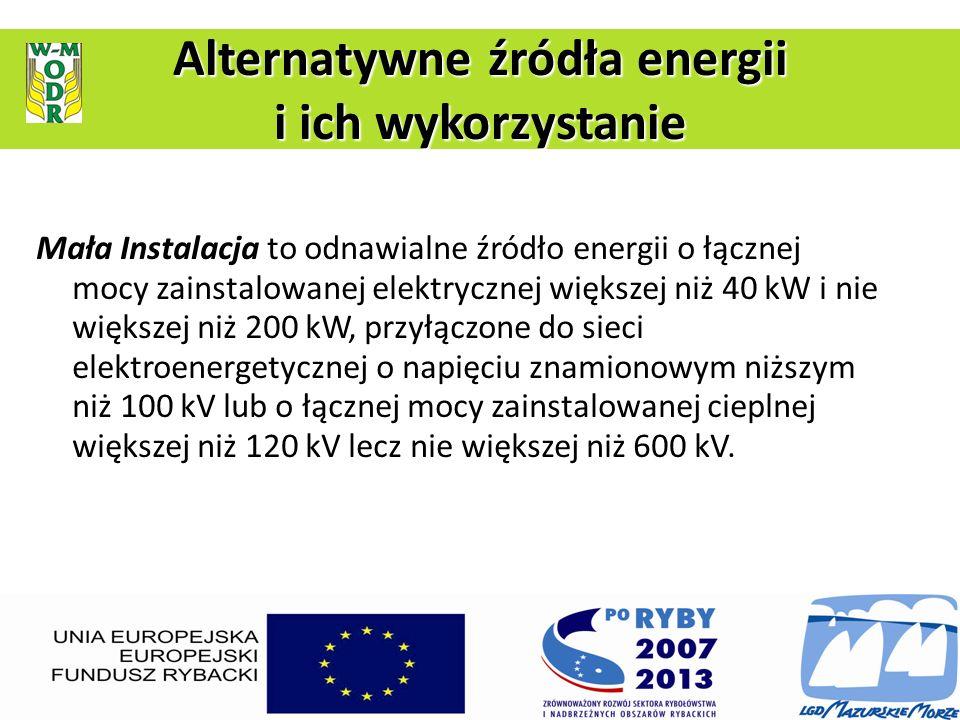 Mała Instalacja to odnawialne źródło energii o łącznej mocy zainstalowanej elektrycznej większej niż 40 kW i nie większej niż 200 kW, przyłączone do s