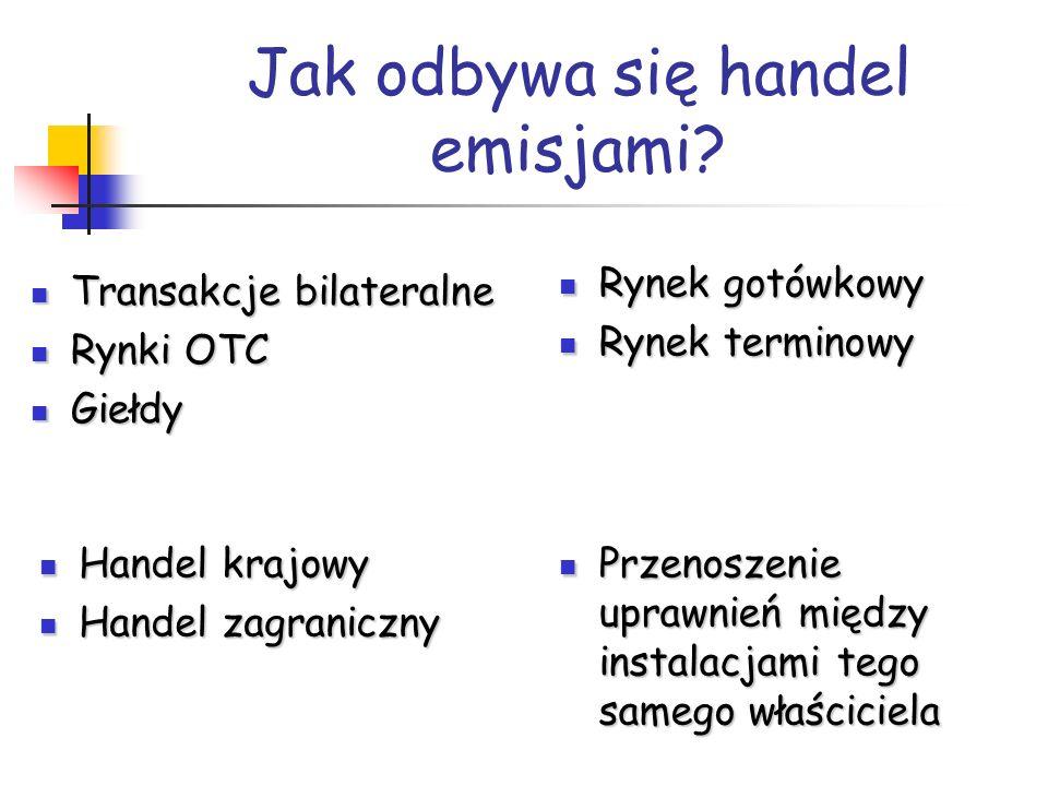 Jak odbywa się handel emisjami? Transakcje bilateralne Transakcje bilateralne Rynki OTC Rynki OTC Giełdy Giełdy Rynek gotówkowy Rynek gotówkowy Rynek