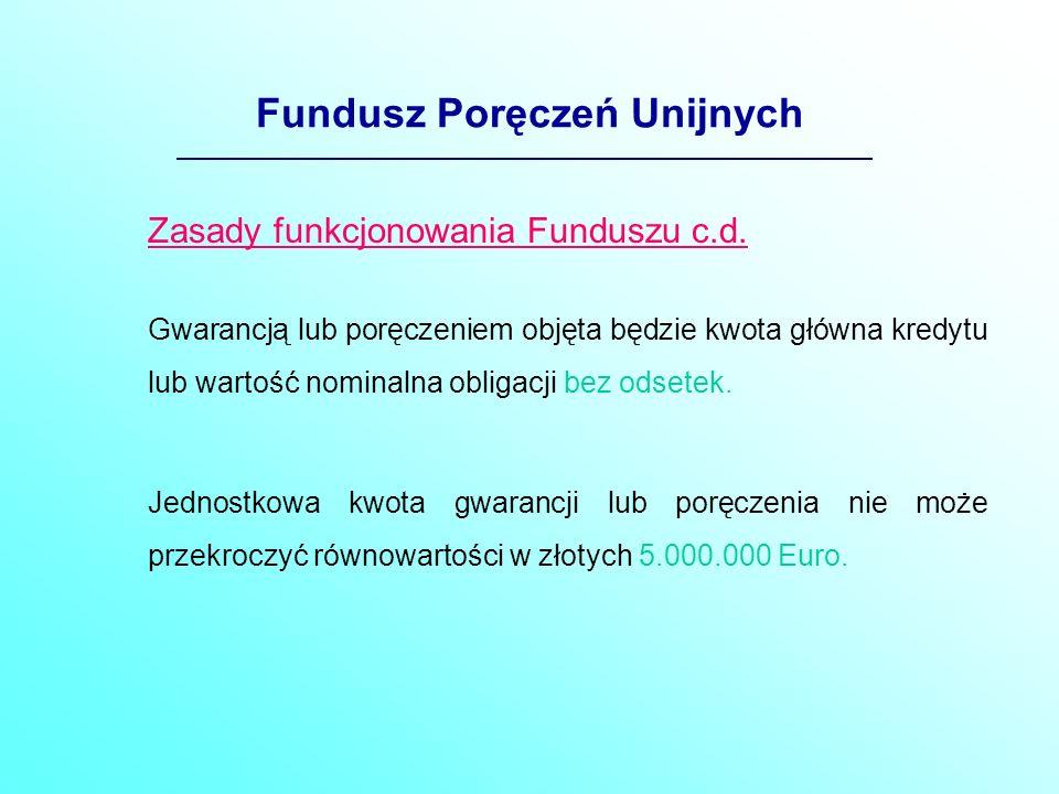 Fundusz Poręczeń Unijnych Zasady funkcjonowania Funduszu c.d.
