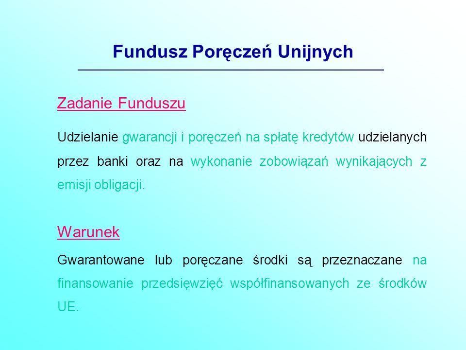 Fundusz Poręczeń Unijnych Zadanie Funduszu Udzielanie gwarancji i poręczeń na spłatę kredytów udzielanych przez banki oraz na wykonanie zobowiązań wynikających z emisji obligacji.