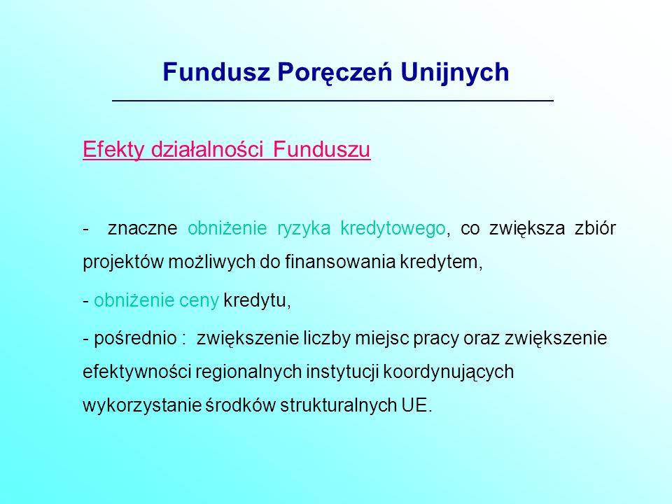 Fundusz Poręczeń Unijnych Forma prawna Funduszu - Fundusz nie posiada osobowości prawnej, - ma być usytuowany w Banku Gospodarstwa Krajowego, który jest bankiem państwowym i posiada doświadczenie w obsłudze i prowadzeniu Krajowego Funduszu Poręczeń Kredytowych.