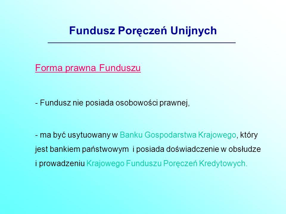 Fundusz Poręczeń Unijnych Źródła finansowania Funduszu -środki pieniężne przekazywane przez Narodowy Bank Polski z tytułu oprocentowania rezerwy obowiązkowej od depozytów banków utrzymywanych w NBP, w części odpowiednio: w 2004r.