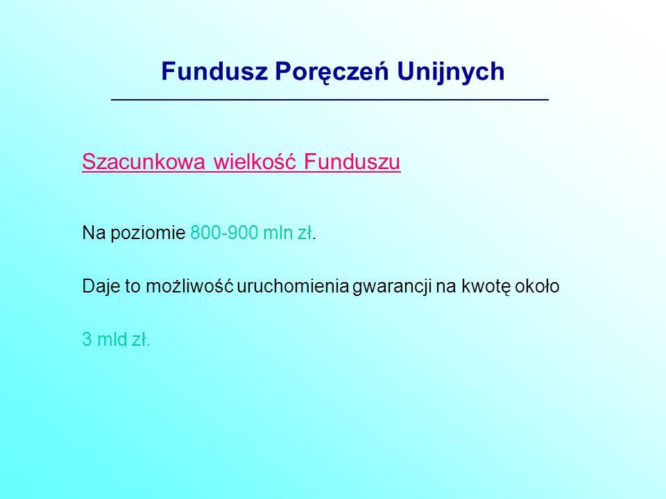 Fundusz Poręczeń Unijnych Szacunkowa wielkość Funduszu Na poziomie 800-900 mln zł.
