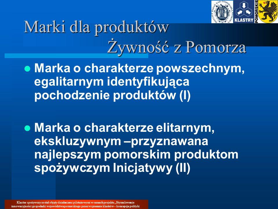 Klaster spożywczy został objęty działaniami pilotażowymi w ramach projektu Stymulowanie innowacyjności gospodarki województwa pomorskiego przez wspieranie klastrów – koncepcja polityki Marki dla produktów Żywność z Pomorza KLASTER SPOŻYWCZY WOJ.POMORSKIEGO INICJATYWA KLASTROWA ŻZP MARKA POWSZECHNA, EGALITARNA KAPITUŁA SMAKU MARKA ELITARNA