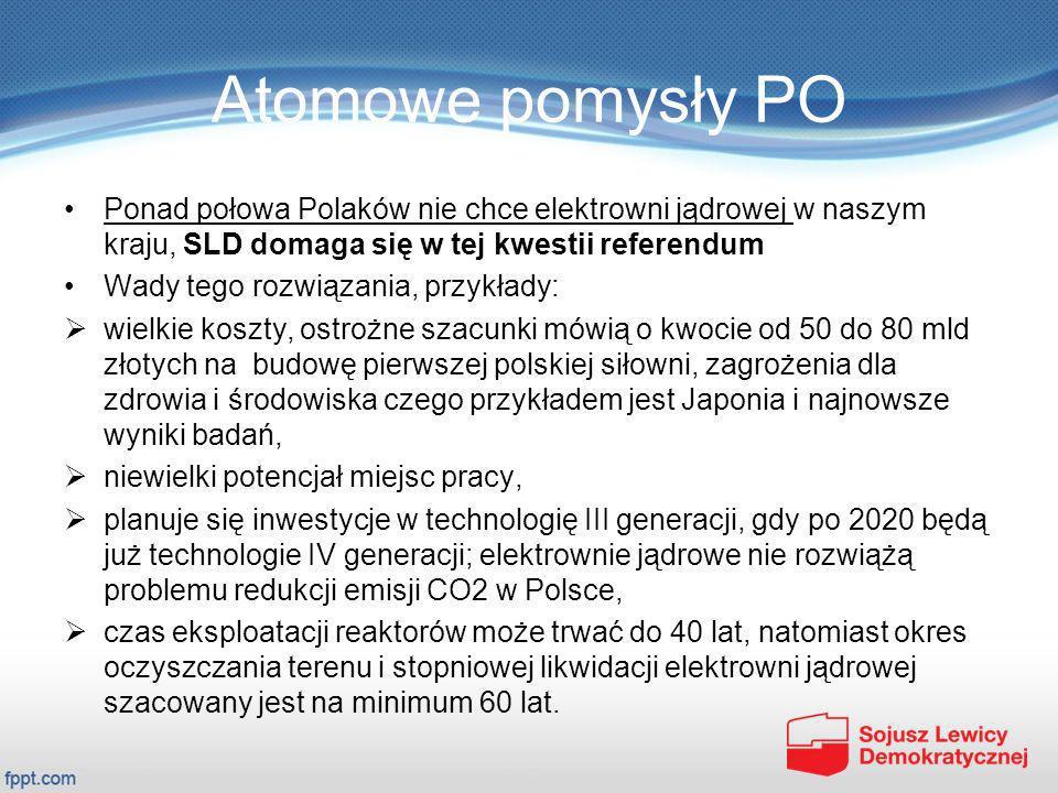 Atomowe pomysły PO Ponad połowa Polaków nie chce elektrowni jądrowej w naszym kraju, SLD domaga się w tej kwestii referendum Wady tego rozwiązania, pr