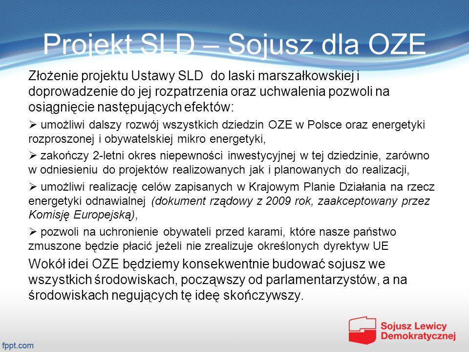 Projekt SLD – Sojusz dla OZE Złożenie projektu Ustawy SLD do laski marszałkowskiej i doprowadzenie do jej rozpatrzenia oraz uchwalenia pozwoli na osią