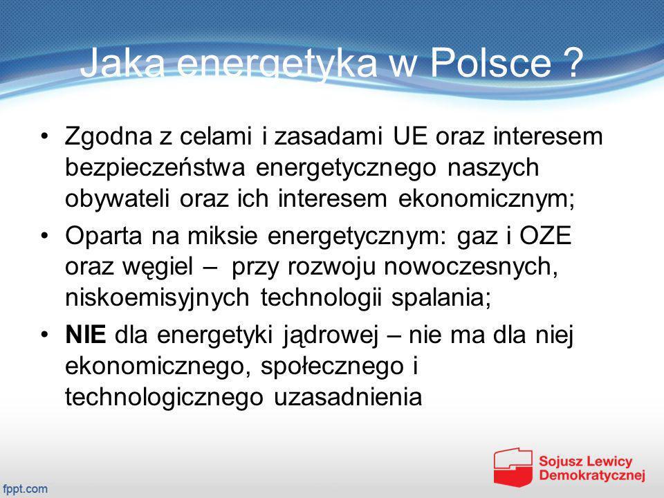 Jaka energetyka w Polsce ? Zgodna z celami i zasadami UE oraz interesem bezpieczeństwa energetycznego naszych obywateli oraz ich interesem ekonomiczny