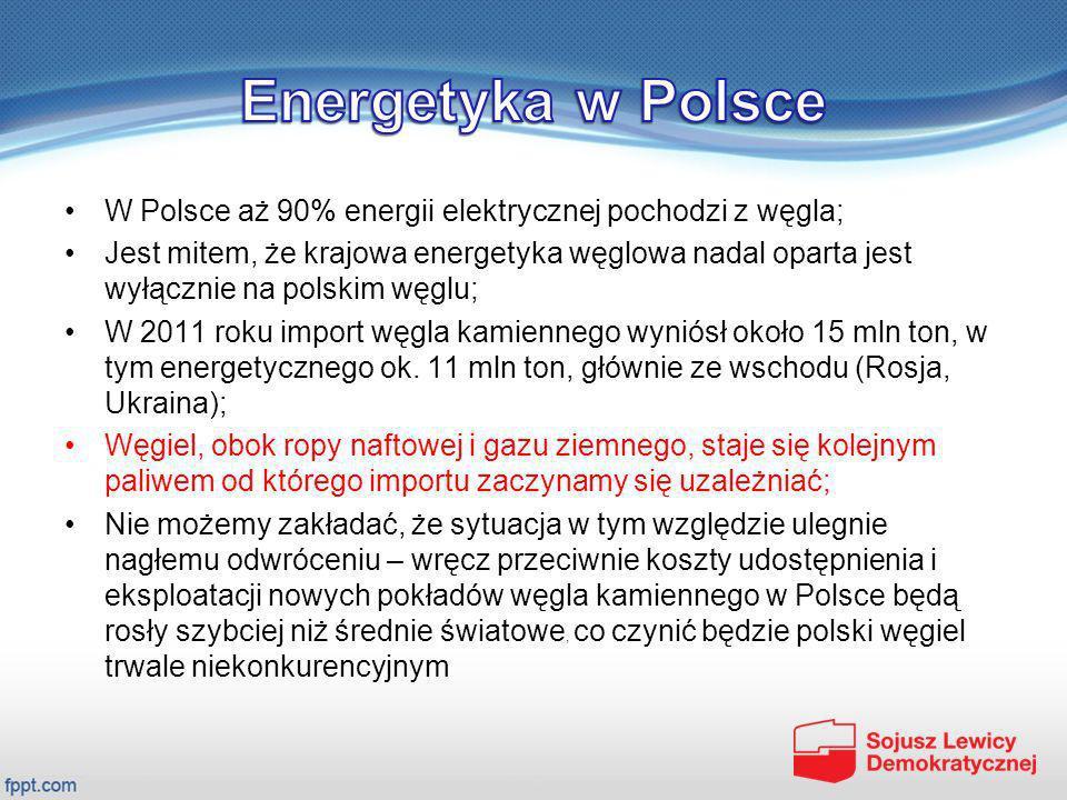W Polsce aż 90% energii elektrycznej pochodzi z węgla; Jest mitem, że krajowa energetyka węglowa nadal oparta jest wyłącznie na polskim węglu; W 2011