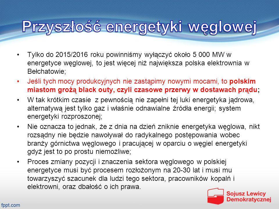 Tylko do 2015/2016 roku powinniśmy wyłączyć około 5 000 MW w energetyce węglowej, to jest więcej niż największa polska elektrownia w Bełchatowie; Jeśl