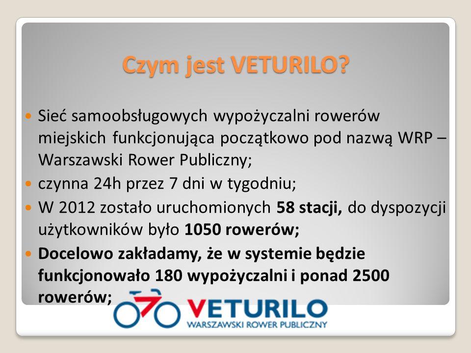 Sieć samoobsługowych wypożyczalni rowerów miejskich funkcjonująca początkowo pod nazwą WRP – Warszawski Rower Publiczny; czynna 24h przez 7 dni w tygodniu; W 2012 zostało uruchomionych 58 stacji, do dyspozycji użytkowników było 1050 rowerów; Docelowo zakładamy, że w systemie będzie funkcjonowało 180 wypożyczalni i ponad 2500 rowerów; Czym jest VETURILO?