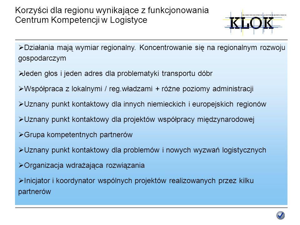 Działania mają wymiar regionalny. Koncentrowanie się na regionalnym rozwoju gospodarczym Jeden głos i jeden adres dla problematyki transportu dóbr Wsp