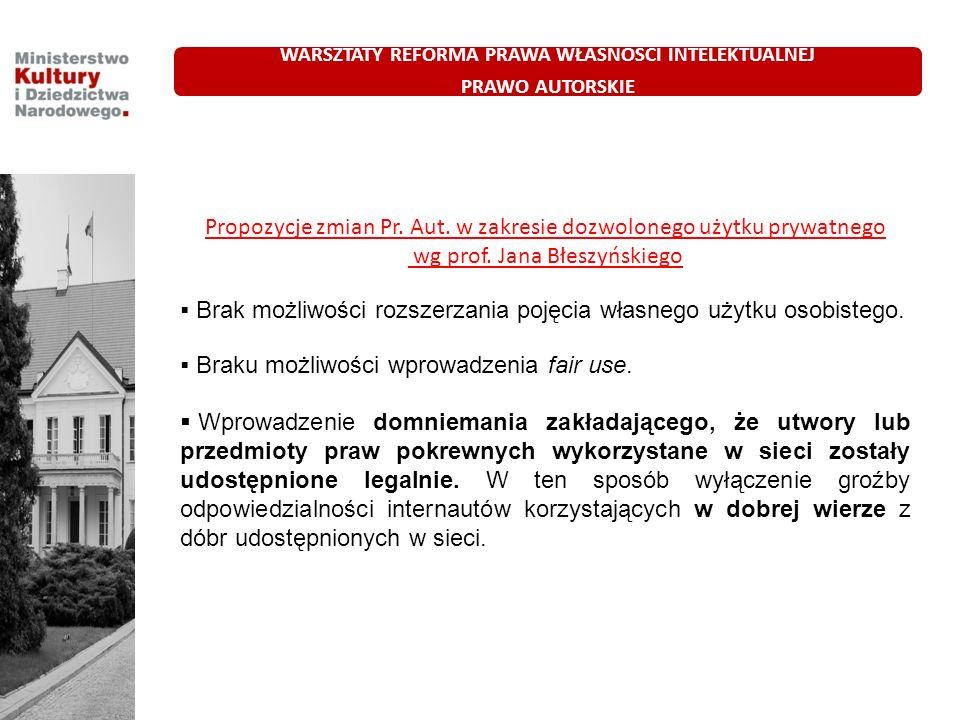 Propozycje zmian Pr. Aut. w zakresie dozwolonego użytku prywatnego wg prof. Jana Błeszyńskiego Brak możliwości rozszerzania pojęcia własnego użytku os