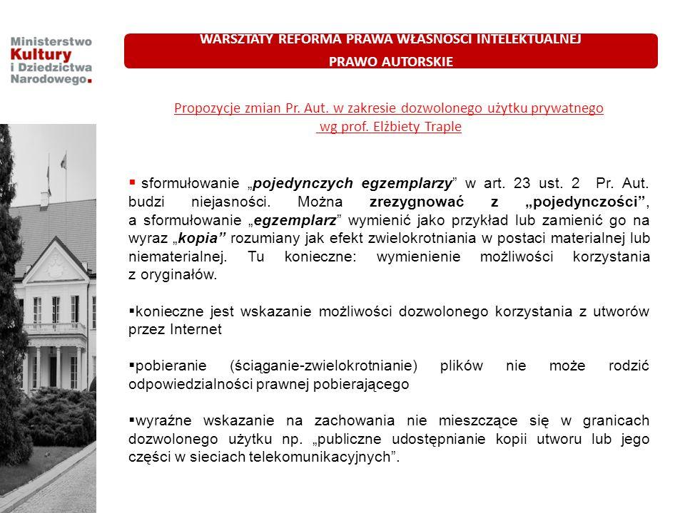 Propozycje zmian Pr. Aut. w zakresie dozwolonego użytku prywatnego wg prof. Elżbiety Traple sformułowanie pojedynczych egzemplarzy w art. 23 ust. 2 Pr