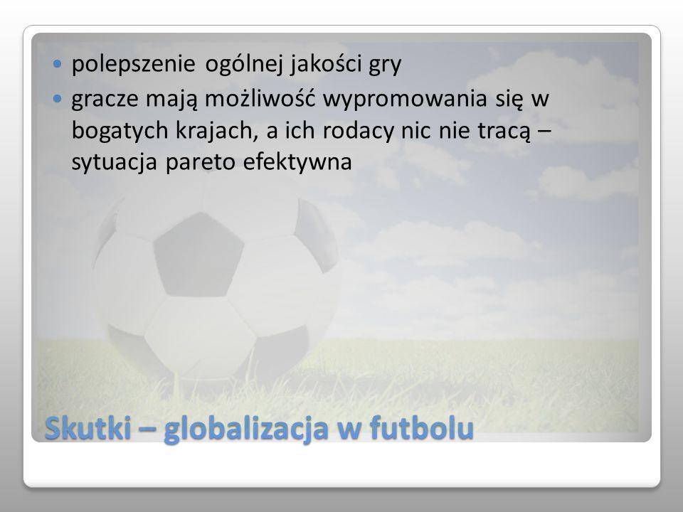 Skutki – globalizacja w futbolu polepszenie ogólnej jakości gry gracze mają możliwość wypromowania się w bogatych krajach, a ich rodacy nic nie tracą