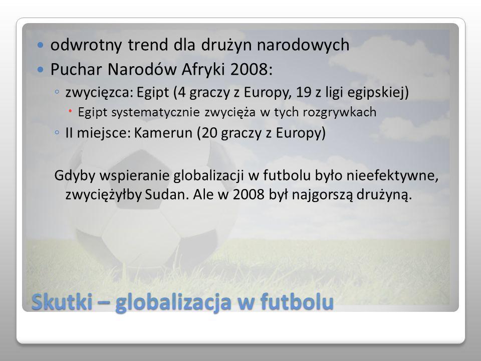 Skutki – globalizacja w futbolu odwrotny trend dla drużyn narodowych Puchar Narodów Afryki 2008: zwycięzca: Egipt (4 graczy z Europy, 19 z ligi egipsk