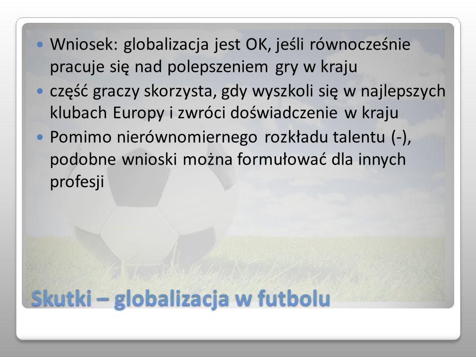 Skutki – globalizacja w futbolu Wniosek: globalizacja jest OK, jeśli równocześnie pracuje się nad polepszeniem gry w kraju część graczy skorzysta, gdy
