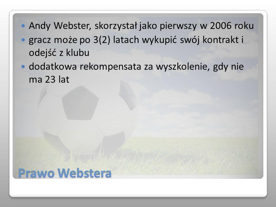 Prawo Webstera Andy Webster, skorzystał jako pierwszy w 2006 roku gracz może po 3(2) latach wykupić swój kontrakt i odejść z klubu dodatkowa rekompens