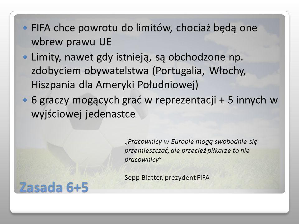 Zasada 6+5 FIFA chce powrotu do limitów, chociaż będą one wbrew prawu UE Limity, nawet gdy istnieją, są obchodzone np. zdobyciem obywatelstwa (Portuga