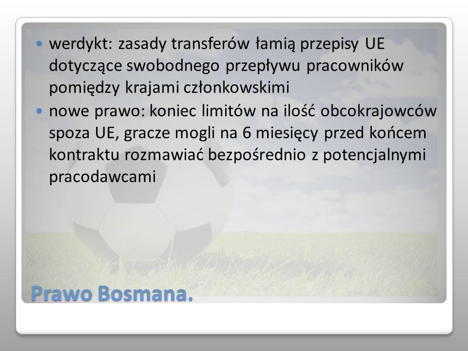 Prawo Bosmana. werdykt: zasady transferów łamią przepisy UE dotyczące swobodnego przepływu pracowników pomiędzy krajami członkowskimi nowe prawo: koni
