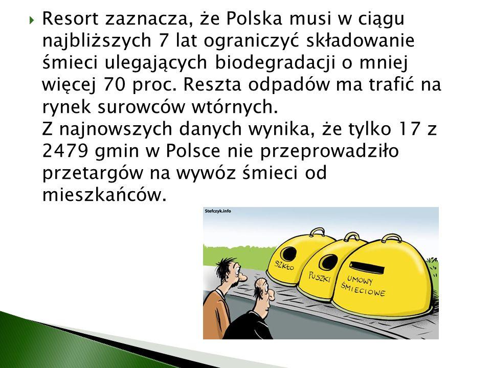 Resort zaznacza, że Polska musi w ciągu najbliższych 7 lat ograniczyć składowanie śmieci ulegających biodegradacji o mniej więcej 70 proc.
