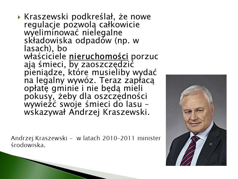 Kraszewski podkreślał, że nowe regulacje pozwolą całkowicie wyeliminować nielegalne składowiska odpadów (np.