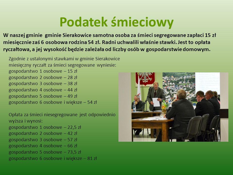 Podatek śmieciowy W naszej gminie gminie Sierakowice samotna osoba za śmieci segregowane zapłaci 15 zł miesięcznie zaś 6 osobowa rodzina 54 zł. Radni