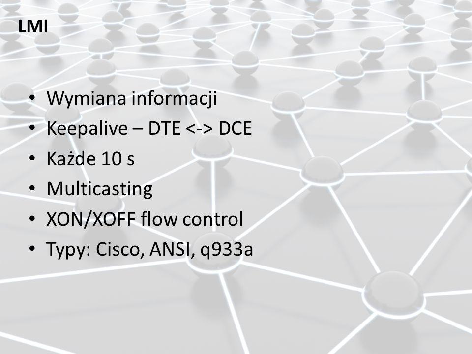 LMI Wymiana informacji Keepalive – DTE DCE Każde 10 s Multicasting XON/XOFF flow control Typy: Cisco, ANSI, q933a