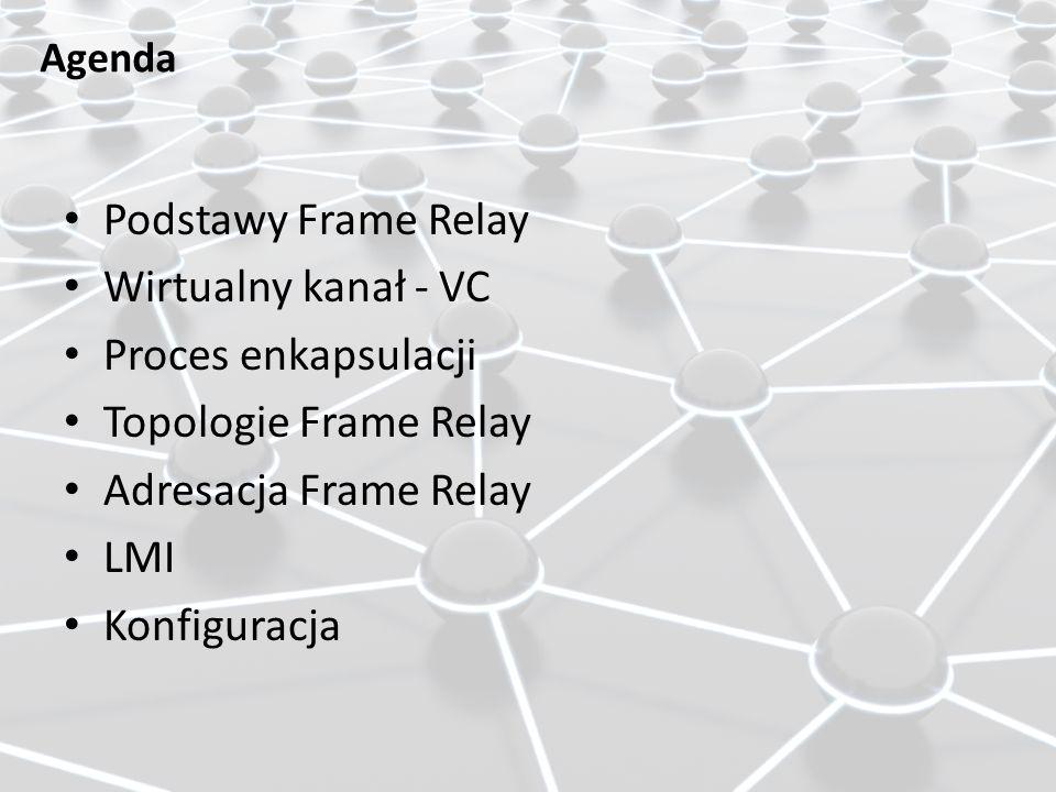 Agenda Podstawy Frame Relay Wirtualny kanał - VC Proces enkapsulacji Topologie Frame Relay Adresacja Frame Relay LMI Konfiguracja