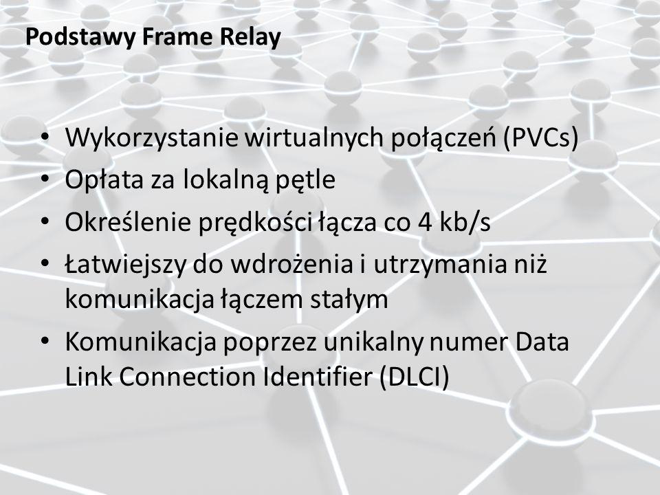 Wykorzystanie wirtualnych połączeń (PVCs) Opłata za lokalną pętle Określenie prędkości łącza co 4 kb/s Łatwiejszy do wdrożenia i utrzymania niż komuni