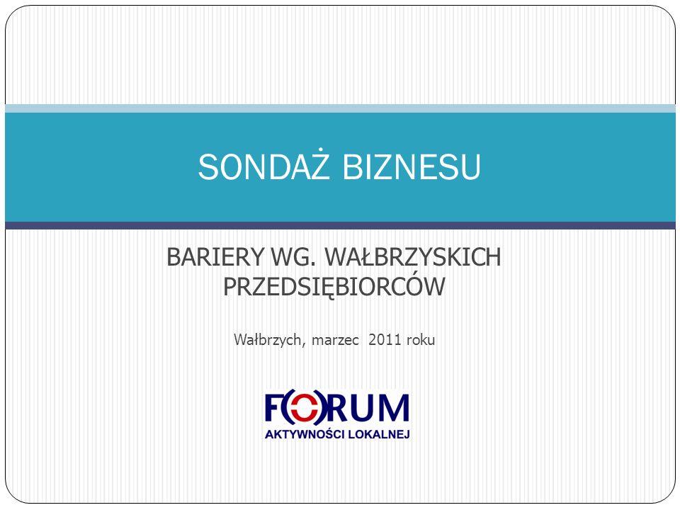 BARIERY WG. WAŁBRZYSKICH PRZEDSIĘBIORCÓW Wałbrzych, marzec 2011 roku SONDAŻ BIZNESU