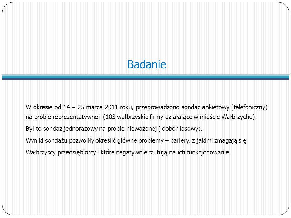 Badanie W okresie od 14 – 25 marca 2011 roku, przeprowadzono sondaż ankietowy (telefoniczny) na próbie reprezentatywnej (103 wałbrzyskie firmy działające w mieście Wałbrzychu).