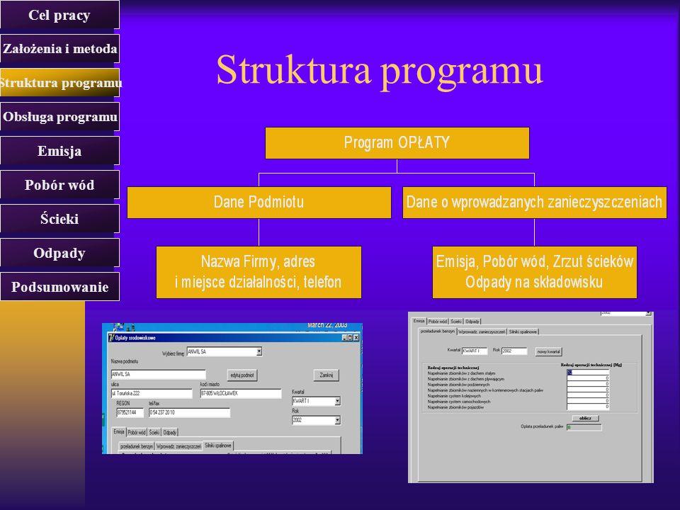 Struktura programu Cel pracy Założenia i metoda Struktura programu Obsługa programu Emisja Pobór wód Ścieki Odpady Podsumowanie