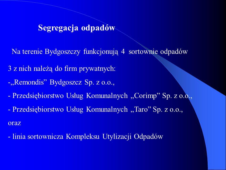 Segregacja odpadów Na terenie Bydgoszczy funkcjonują 4 sortownie odpadów 3 z nich należą do firm prywatnych: -Remondis Bydgoszcz Sp. z o.o., - Przedsi