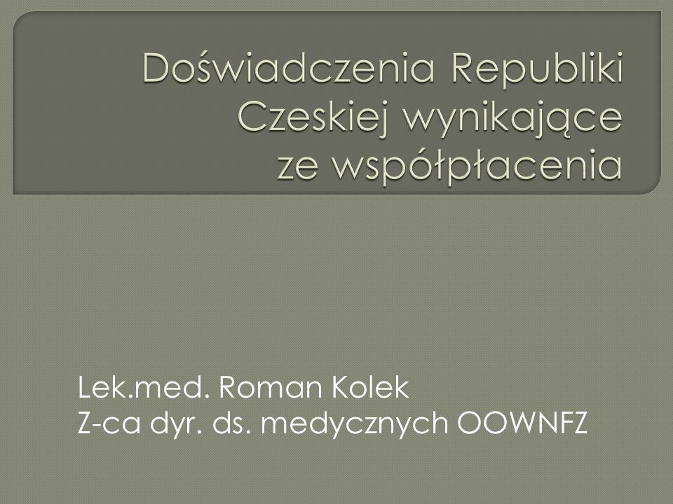 Lek.med. Roman Kolek Z-ca dyr. ds. medycznych OOWNFZ