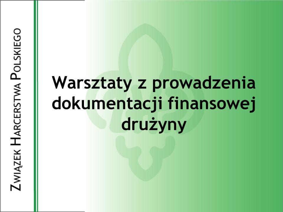 Zakup sprzętu Zakup środków o wartości powyżej 3.500zł wymaga zgody komendanta i skarbnika chorągwi.