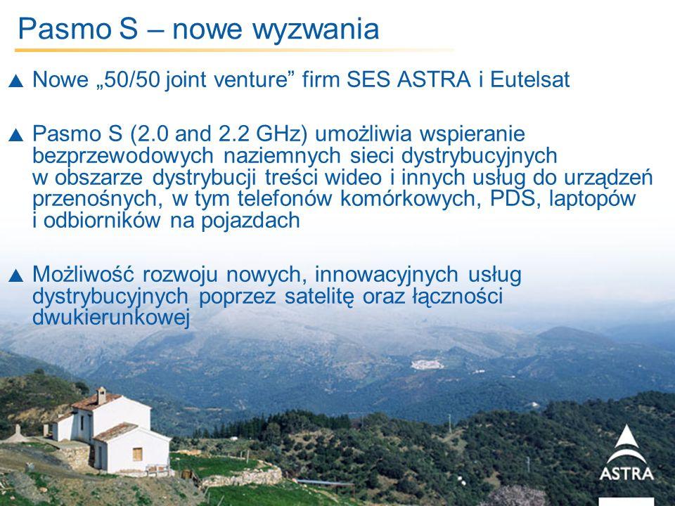 5 March, 2014 / Slide 12 Pasmo S – nowe wyzwania Nowe 50/50 joint venture firm SES ASTRA i Eutelsat Pasmo S (2.0 and 2.2 GHz) umożliwia wspieranie bez
