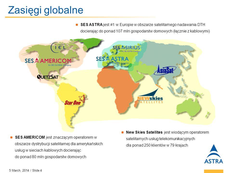5 March, 2014 / Slide 5 Flota satelitarna SES GLOBAL Największa flota 44 satelitów: 35 w ramach własnych zasobów oraz 9 poprzez udziały kapitałowe w innych operatorach satelitarnych Satelity są umieszczone na 32 pozycjach orbitalnych