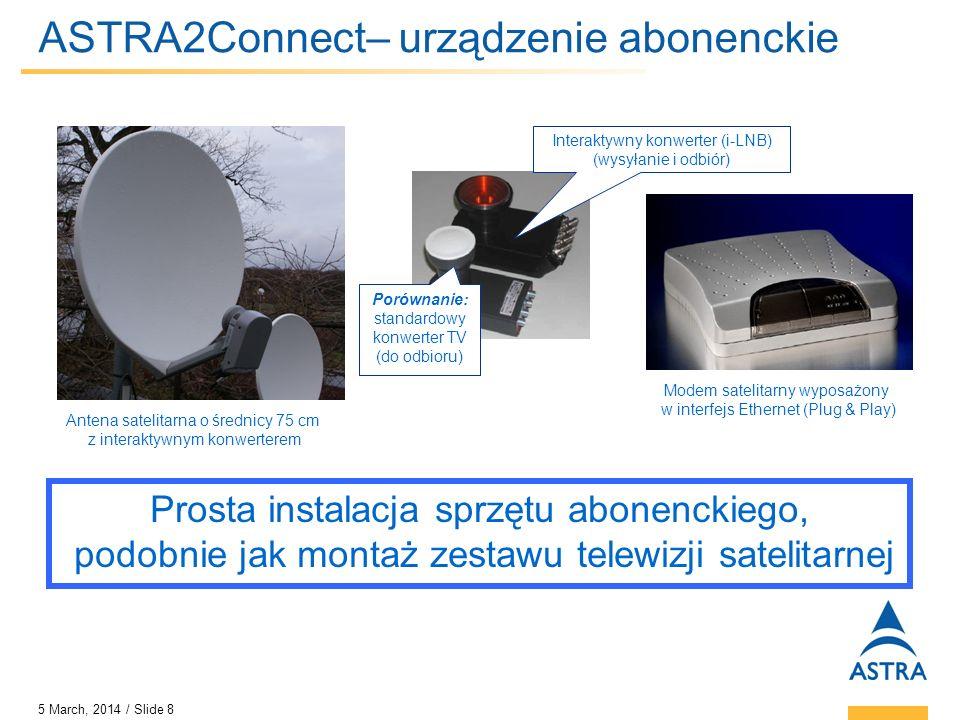 5 March, 2014 / Slide 9 ASTRA2Connect – korzyści dla klientów końcowych Stały szerokopasmowy dostęp do Internetu Opłaty miesięczne Pakiety usługi bez limitu ilości pobranych danych* Wysoka dostępność systemu Tani sprzęt abonencki Plug & Play, łatwy w instalacji Usługi IPTV w formacie multicastowej dostarczane do abonenta Możliwości Voice over IP * Fair Use Policy